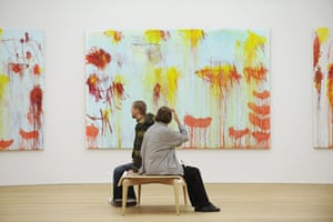 Cy Twombly-in memoriam: Visitors sit in front of US artist Cy Tw