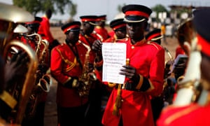 Musicians practise before the start of a rehearsal of the Independence Day ceremony in Juba