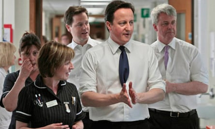 David Cameron, Nick Clegg and Andrew Lansley on a visit to Frimley Park Hospital in Surrey