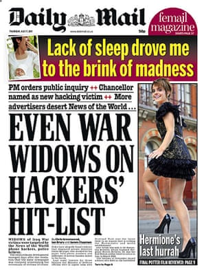 Hacking fronts 7 July: Daily Mail