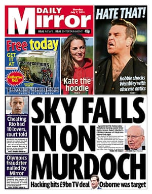 Hacking fronts 7 July: Daily Mirror