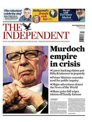 Hacking fronts 7 July: The Independent