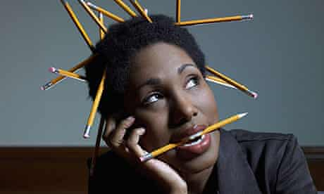 businesswoman with pencils