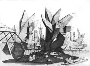 Chris Foss Sketch Of Krypton City In Superman