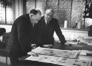 News of The World History: Editor A G Waters discussing an issue with printer at the News of The World