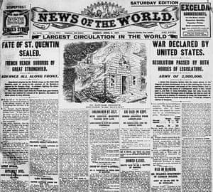 News of The World History: Newspaper headlines in the News of the World during World War I