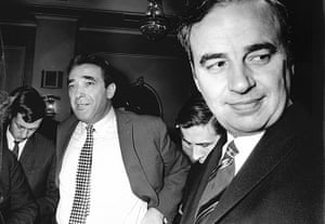 News of The World History: Rupert Murdoch and Robert Maxwell after vote on takeover 1969