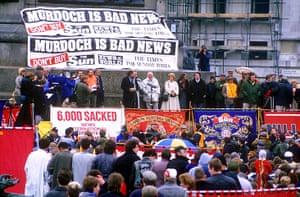 News of The World History: Anti Rupert Murdoch rally, News International industrial dispute, London