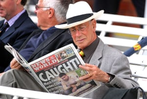 News of the World Update: An MCC member sits in the Lord's Pavilion reading the News of The World