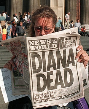 News of the World Update: A woman reading about the death of Diana in the News of The World