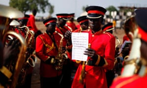 Brass band members rehearse