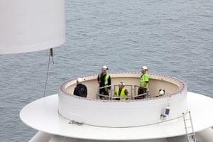 Ormonde wind farm: Technicians sit in the transition piece