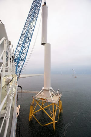 Ormonde wind farm: The second tower section is lowered into place onto the first tower section