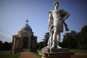 Wrest park: A statue stands next to the Archer pavillion
