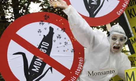 An activist protests against US biotech giant Monsanto