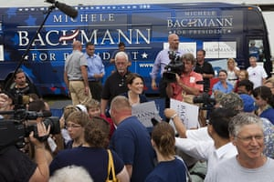 Republican rally in Iowa: Humboldt, Iowa: Michele Bachmann campaigns
