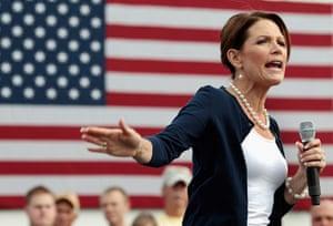 Republican rally in Iowa: Humboldt, Iowa: Republican presidential candidate Bachmann speaks