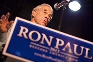 Republican rally in Iowa: Davenport, Iowa: Republican presidential hopeful Ron Paul speaks