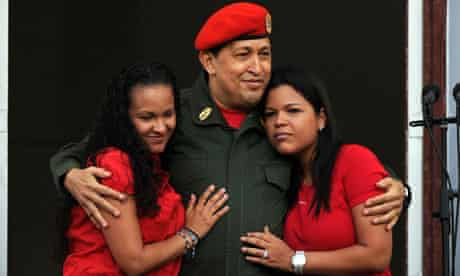 Hugo Chavez withis his daughters Maria annd Rosa