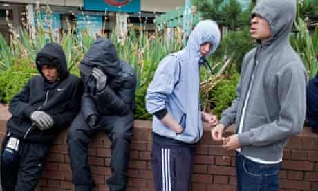 Riots aftermath. Youths gather in the centre of West Bromwich