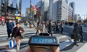 testing radiation levels in Japan after earthquake