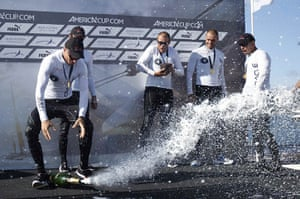 24 hours in pictures: Cascais, Portugal: Australian skipper drops a champagne bottle