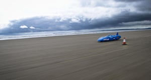 24 hours in pictures: Pendine Sands, Wales: The electric car Bluebird makes her initial run