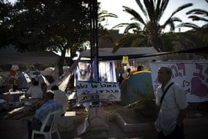 24 hours in pictures: Beersheva, Israel: Israeli protesters rest in their protest tent camp