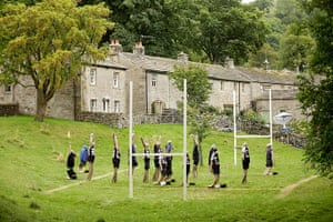 24 hours in pictures: Kettlewell, England: Scarecrows as rugby players at a festival