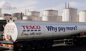 A Tesco petrol tanker
