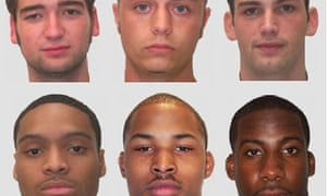 Mugshots illustrating facial features of different races