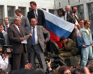 Moscow  coup: Russian President Boris Yeltsin reads a statement during the coup, Moscow