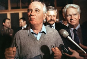 Moscow  coup: 21 August: Soviet President Mikhail Gorbachev makes his first appearance