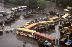 Moscow  coup: 21 August: A barricade made of trams at the site of clashes in Moscow