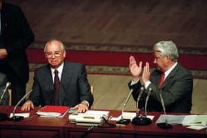 Moscow  coup: 23 August: Boris Yeltsin applauds Mikail Gorbachev following the coup