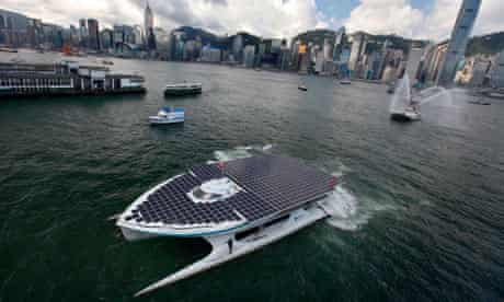 Solar powered vessel, 'MS Turanor Planetsolar' enters Victoria Harbour, Hong Kong, China