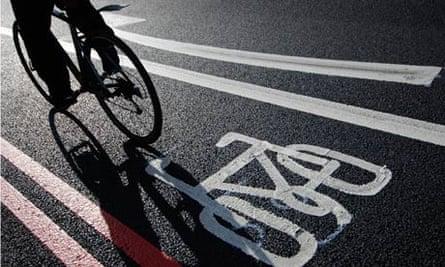 Cyclist in London bike lane