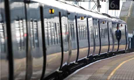 A bullet train at St Pancras, London.