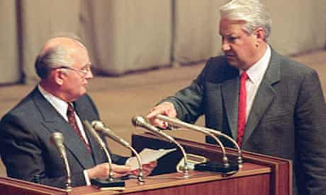 Boris Yeltsin (right) with Mikhail Gorbachev after the failure of the August 1991 coup