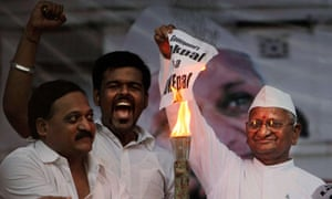Anna Hazare burns anti-corruption legislation