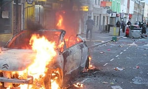 The scene in Hackney on 8 August 2011, when the riots spread from Tottenham