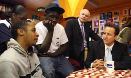 David Cameron and Iain Duncan Smith meet young people in London.