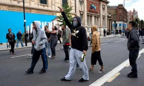 Rioters in Mare Street, Hackney
