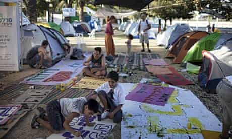 A tent protest camp in Beersheva, one of dozens that have been established around Israel