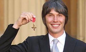 Professor Brian Cox with his OBE at Buckingham Palace on 20 October 2010