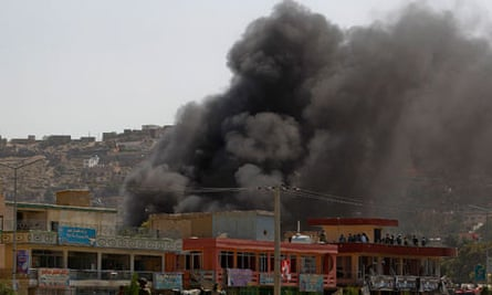 Smoke rises from British Council in Kabul following attack on August 19 2011