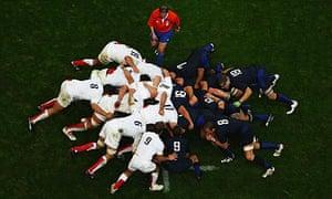 Rugby scrum, England v France