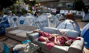 Tents at a camp set up in Tel Aviv calling for lower property prices in Israel