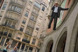 24 hours in pictures: Bilbao, Spain: German street artist Johan Lorbeer performs