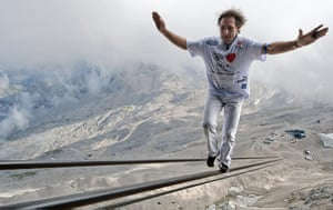 24 hours in pictures: Grainau, Germany: High wire artist Freddy Nock balances